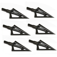 Wholesale 6pcs Stainless Steel Broadheads Fixed Blades Sharp Arrow Head Hunting Shooting Grain Archery Arrowheads Tip Target Black