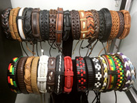 Wholesale Leather Jewelry Cuffs - 100pcs Mens Womens Vintage Genuine Leather Surfer Bracelet Cuff Wristband Fashion Jewelry Gift Bracelet Mixed Style Jewelry Wholesale Lots