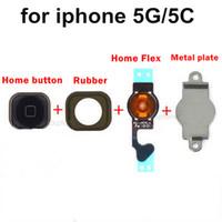 Wholesale Home Key Holder - Home Menu Button Key Cap Flex Cable Bracket Holder Set Assembly for iPhone 5 5G 5C Black White Replacement Part