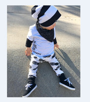 Wholesale Boy S Autumn Outfit - 2016 Ins Children Spring Autumn Clothes Suits Boys Soft Cotto Long Sleeve Splice T-shirt+Full Pineapple Print Long Pants Two Piece Outfits