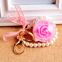 Wholesale Pearl Ball Pendant Bracelet - Immortal Flower Keychains Clear Ball Rose with Pearl Bracelet Key Ring Backsack Pendant Fashionable Girls Gift Keychain2016