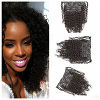 Wholesale Malaysian Tight Curly Extensions - Clip Hair Extensions Tangle Free No Shedding No Smell Tight and Neat kinky Curly Good Hair Extensions 7pcs clip on hair extensions G-EASY