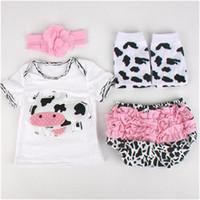 Wholesale Cow Leg - Newborn Baby Girls Ruffle Bloomers Leg Warmer Headband Set ,Cow Printed Summer Newborn Outfit ,Infant Baby Clothes