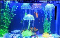 réservoir de méduses artificielles achat en gros de-Glowing Artificielle Vivid Jellyfish Silicone Fish Tank Décor Aquarium Décoration Ornement H210462