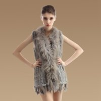 Wholesale Real Knitted Rabbit Fur Vest Women Natural Fur Collar Waistcoat TP99047
