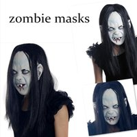 Wholesale Grudge Halloween Masks - 2016 Easter Halloween Witch ghost mask mask grudge Sadako sleeve head Zombie mask black mask of terror