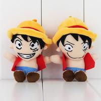 tek parça peluş oyuncak bebek toptan satış-12 cm Anime One Piece Maymun D Luffy Peluş Yumuşak Dolması Doll Oyuncak çocuklar hediye için oyuncak ücretsiz kargo perakende