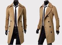 casacos de cashmere dos homens venda por atacado-Mens Designer Roupas Trench Coats Frete Grátis Moda Inverno Único Breasted Cashmere Jaqueta Casacos Homens Casaco Casacos