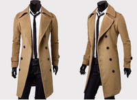 gabardina beige para hombre al por mayor-Ropa de diseñador para hombre Gabardinas Envío gratis Moda de invierno breasted solo Chaqueta de cachemira abrigos para hombre Sobrecoat Casacos