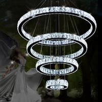 Wholesale Cristal Light Sale - Hot sale LED K9 Crystal Ring Pendant Light Chandelier Lamp Lustres De Cristal Suspension Modern LED Light Fixture Lighting
