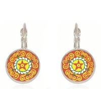 Wholesale Flowering Plants Pictures - Enamel mandala lotus earrings a pair henna yoga jewelry earrings for women charm art picture om symbol Buddhism, Zen