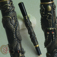 Wholesale Antique Pens - JINHAO 41 ANTIQUE BRASS MEDIUM NIB FOUNTAIN PEN WITH DRAGON EMBOSSMENT
