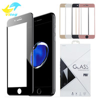 Wholesale Hd Cover Iphone - 3D Round Edge full cover Screen Protector Drop Proof HD Clear Tempered Glass for iPhone 6 6s plus 7 7 plus Black white Gold Rose Gold