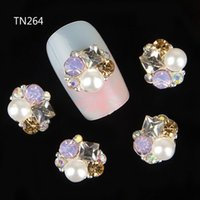 Wholesale Nail Rhinestones Gems Pearls - Wholesale- 10pcs 3d nails decorations new arrive pearl gem design nail gel sticker adhesive rhinestones for nail manicure styling tools
