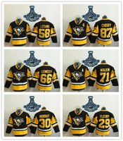Wholesale Sizes 58 - Youth Pittsburgh Penguins #87 Sidney Crosby #71 Evgeni Malkin #58 Kris Letang Black with 2016 Stanley Cup Champion Patch Kids Size S M L XL