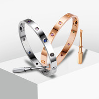 Wholesale Stainless Steel Screw Clasps Wholesale - New screws never lose style silver 18k rose gold 316L stainless steel forever lovers screw bangle bracelet with screwdriver famous brand
