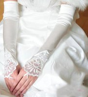 Wholesale Silk Lace Red Gloves - Fingerless Satin Silk Long Wedding Gloves for Bridal Lace Embroidery with Beaded Gorgeous Bridal Gloves gants mariage femme