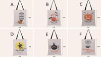 lienzos de navidad al por mayor-Bolsas de regalo de navidad Bolsas de lona grandes de algodón Bolsos de mano de calabaza, diablo, araña impresa de Halloween Bolsas de regalo de caramelo Bolsas de sacos de regalo