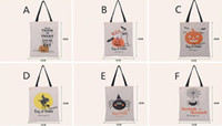 Wholesale Decoration Spider - Christmas Gift Bags Large Cotton Canvas Hand Bags Pumpkin,Devil,Spider Printed Halloween Candy Gift Bags Gift Sack Bags