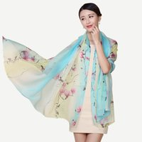Wholesale Hijab Selling - 100% Real Silk Scarf Hot Selling Floral Silk Scarf Women Shawl 175x110cm Large Size Satin Scarves Stoles Foulard Femme Hijab