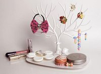 Wholesale Metal Jewelry Tree - New My Little Deer Tray Jewelry Accessories Tree Necklace Earring Ring Watch Key Organizer Jewelry Display Stand Wedding Decorations Favors