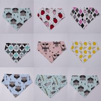 Wholesale Print Binders - 2016 ins hot infant baby bibs triangular fox binder children pure cotton double-deck burp cloths baby cute pinafores 10 Styles