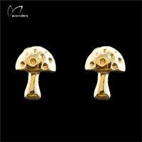 Wholesale Cheap Gold Earrings For Women - Wholesale 10Pcs lot Cheap Earrings 2017 Fashion 925 Earring Zinc Alloy Jewelry 18K Gold Wild Mushroom Stud Earrings For Women