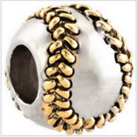 Wholesale baseball necklace charms silver - Fits Pandora Bracelets 30pcs Golden Baseball Silver Charm Beads Spo Chamilia Charms For Wholesale Diy European Necklace Snake Chain Bracelet