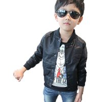 Wholesale Baby Boys Leather Jacket Kids - New 2016 Autumn Fashion Baby Boys Outwear Skull Print Faux Leather Jackets Coat Kids Trendy Spring Motorcycle Tops for 2-7Y boys