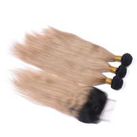 dunkle wurzeln blonde reine haare indisch großhandel-# 1B / 27 Honigblondes Ombre-4x4-Verschluss mit Schnürung mit dunkler Wurzel 2Tone Ombre Jungfrau-Indisches gerades Menschenhaar 3Bündel mit Verschluss