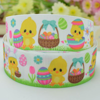 "Wholesale Wholesale Easter Grosgrain Ribbon - Free shipping 7 8"" 22mm Easter chick painted eggshell Printed grosgrain ribbon hairbow DIY handmade wholesale OEM 50YD"