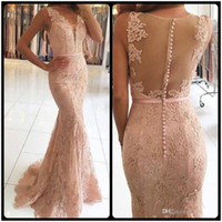 Wholesale Gray Pearl Buttons - 2018 New Arrival Pearl Pink Mermaid Prom Dresses Lace Applique Illusion Button Back Floor Length Elegant Cheap Formal Evening Dresses