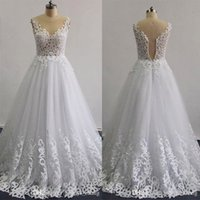 Wholesale Long Line Skirt Pattern - Real Images 2016 Laser Patterns Beaded Wedding Dresses A -Line Illusion Neckline Sleeveless Layers Skirt Ruffle Lace Appliques Bridal Gowns