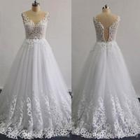 motifs de robe de mariage achat en gros de-Robes de mariage perlées 2016 de modèles réels de Laser une ligne illusion décolleté sans manches couches jupe à volants dentelle appliques robes de mariée