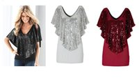 Wholesale Cap Sleeve Glitter - 2016 sexy women tops blouses sequins glitter V neck fit in well tops for women S- XL solid color shirts for women