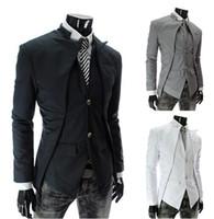 Wholesale Grey Suit Black Collar - New Brand British Style Slim Men Suits Mens Stylish Design Blazer Casual Business Fashion Jacket Black Grey White free shipping