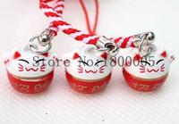 Wholesale Maneki Neko Charms - 50 pcs pink red Maneki Neko Lucky Cat Pendant Cell Phone Keychain Charm Straps with Bell For Sale #R0054