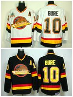 Hockey sobre hielo 10 Pavel Bure Throwback Jerseys Vancouver Canucks Road Alternate Negro Blanco Hombres Moda Bordado Logos