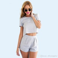 Wholesale Plus Size crop top Piece Runway Skirt Set Grey Casual Office Crop Top and Skirt Set tracksuits