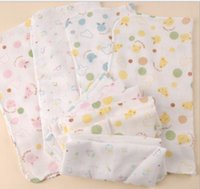 Wholesale White Cotton Square Scarf - 25 * 25 high density printing double gauze handkerchief towel baby feeding small square scarf baby bibs