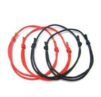 einstellbare rote string armband großhandel-100Pcs rot / schwarz String Kabbalah Glück Armband einstellbar Evil Eye Erfolg