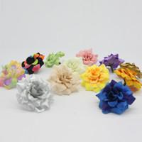 blumen haardekor großhandel-Eco Friendly 100 Stück 1 0,77 Inches Kunstseide Kleine Rose Blumen-Kopf-Hausgarten-Dekor-Partei-Hochzeit Haarspange Bevorzugungen Afh0047