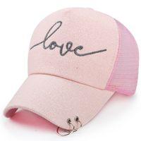 Wholesale Snapbacks Love - Wholesale- Summer Women Baseball Cap Breathable Mesh Sun Hat Trucker Female Hip Hop Love Letter Dad Hats for Ladies Snapback with Ring