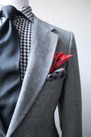 Wholesale Tuxedo Suits Tailored - 2017 Tailored Vintage Light Gray Mens herringbone tweed suit Wedding suits for men 3 piece wedding suits(jacket+Pants+tie)