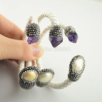 amethyst stone jewelry sets 2018 - New Style~ 5Pcs Druzy Amethyst Stone & Pearl Pave Rhinestone Crystal Leather Bangles Bracelet in white Color Jewelry Finding