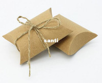 Wholesale Party Favour Paper Bags - Fashion Hot Cute Kraft Paper Pillow Favor Gift Box Wedding Party Favour Gift Candy Boxes Paper Gift Box Bags Supply