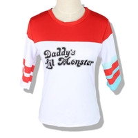 Wholesale Dc Comics Shirts - DC Comics Suicide Squad Harley Quinn Daddy's Lil Monster t shirt Cosplay Costume Supergirl baby girls capes