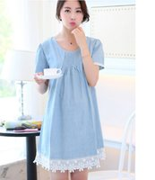 Wholesale Denim Dresses For Pregnant Women - 2016 fashion cotton crew neck full sleeve denim dress for pregnant women
