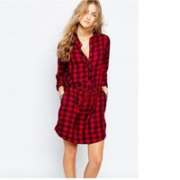 Wholesale Plaid Tunic Dress - High quality Fashion Brand New Autumn Dress 2017 Womens Long Sleeve Plaid Turn-down Collar Vestido Casual Tunic Shirt Dress Plus Size S-XL