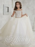 Wholesale Kids Pink Corset - 2016 Ivory Girls Pageant Dresses Off Shoulder Sequins Crystal Beaded Long Corset Back Tulle Kids Flower Girls Dress Birthday Communion Gowns
